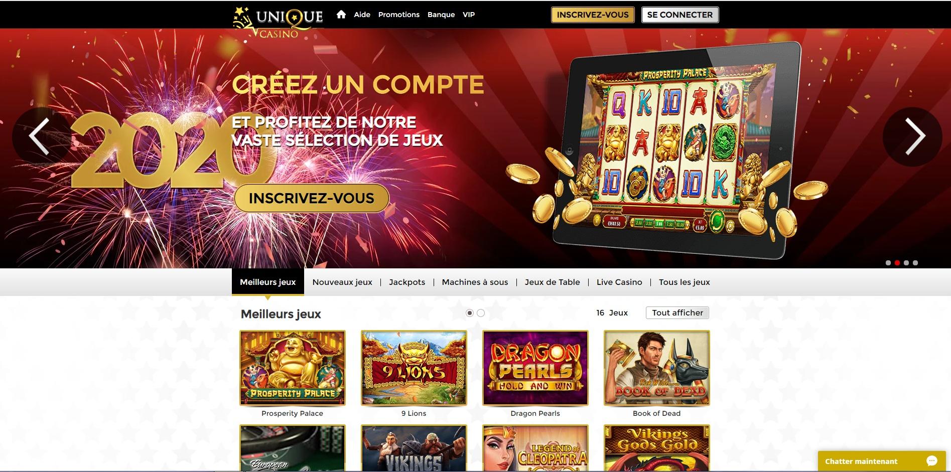 Avis Unique casino : critiques et avis sur ce casino en ligne